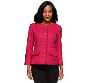 Joan Rivers Shimmering Chic Textured Woven Bracelet Sleeve Jacket - A238302