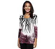 Attitudes by Renee Animal Print Crew Neck Sweater - A238402