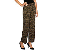 Susan Graver Heavy Liquid Knit Printed Pull-on Ankle Pants - A239802
