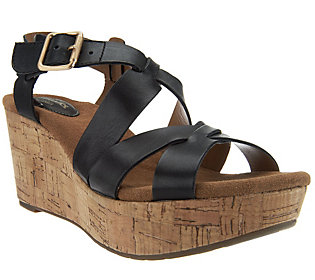 Clarks Artisan Caslynn Cheryl Leather Platform Wedge Sandals