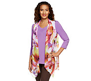Susan Graver Printed Chiffon Vest with 3/4 Sleeve Liquid Knit Top - A251202