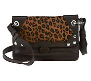 As Is orYANY Bella Leather and Haircalf Medium Crossbody - A254202