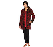 Carole Hochman Petite Pajama Set with Fleece Jacket, Knit Top & Leggings - A256202
