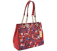 Emma & Sophia Printed or Solid Pebble Leather Chris Tote - A256302
