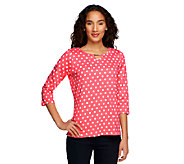 As Is Denim & Co. Knit Polka Dot Print 3/4 Sleeve with Hardware - A258702