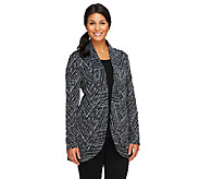 LOGO by Lori Goldstein Jacquard Open Front Jacket - A258802