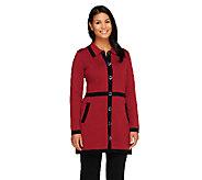 Liz Claiborne New York Sweater Coat with Contrast Trim - A259602