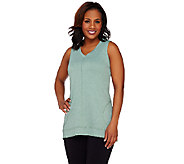 LOGO Lounge by Lori Goldstein Sleeveless V-Neck Top with Seam Pockets - A263302