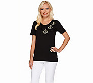 Quacker Factory Simulated Pearls Just Wanna Have Fun V-neck T-shirt - A264502