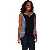 Lisa Rinna Collection Sleeveless Split V-neck Printed Top - A265402