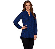 Susan Graver Printed Feather Weave Long Sleeve Tunic with Pintucks - A270302