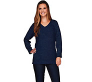 Denim & Co. Long Sleeve V-neck Sweater with Lurex - A271302