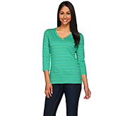 Isaac Mizrahi Live! Essentials Striped V-Neck Knit T-shirt - A272502
