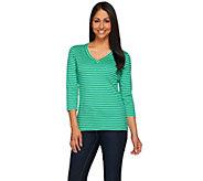Isaac Mizrahi Live! Essentials Striped V-Neck Knit T-shirt - A272502
