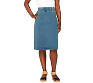 As Is Denim & Co. Comfy Knit Denim Pull-On Knee Length Skirt - A273202
