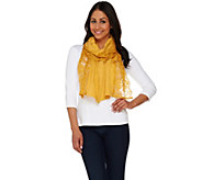 LOGO by Lori Goldstein Cotton Slub Knit Scarf with Scalloped Lace - A274102