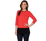 Susan Graver Dolce Knit Colorblock 3/4 Sleeve Tunic - A274502
