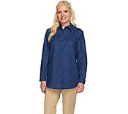 As Is Joan Rivers Classic Denim Boyfriend Shirt with Pockets - A274602