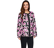 Dennis Basso Lightweight Water Resistant Floral Print Quilted Jacket - A274902