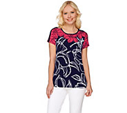 Susan Graver Printed Liquid Knit Scoop Neck Cap Sleeve Top - A275202