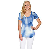 Lisa Rinna Collection Printed Knit Top with High-Low Hem - A277302