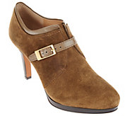 As Is Franco Sarto Suede Booties with Buckle Detail - Sabelle - A277702
