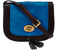 As Is Tignanello Glazed Vintage Leather Saddle Crossbody Bag - A278402