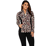 Susan Graver Weekend Printed Stretch Cotton Modal Jacket w/ Embellishment - A278902