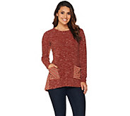 LOGO by Lori Goldstein Space Dye Knit Top with Pockets - A279402
