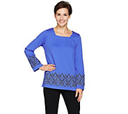 Bob Mackies Square Neck Embroidered Ponte Knit Top - A282202