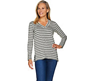 Susan Graver Weekend Striped Cotton Modal V-Neck Top - A284802