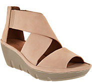Clarks Artisan Nubuck Leather Wedge Sandals - Clarene Glamour - A288102