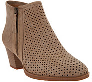 Earth Leather Perforated Booties - Pineberry - A289302