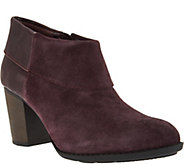 As Is Clarks Leather Side Zip Cuffed Booties - Enfield Canal - A289502