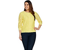 Isaac Mizrahi Live! Lace Front & 3/4 Sleeve Cardigan - A289602