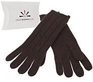 As Is Isaac Mizrahi Live! 2-Ply Cashmere Gloves with Cable Detail - A292002
