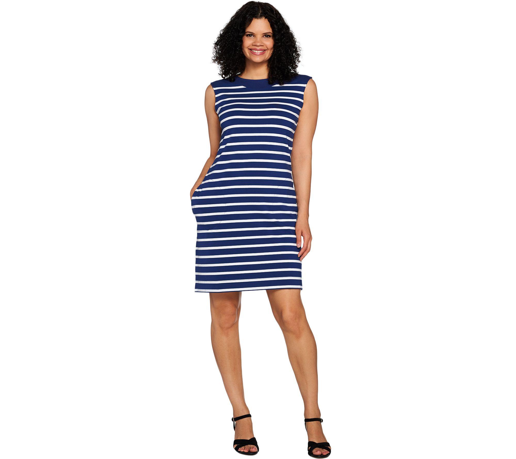 2017 05 fashion jersey dress - Striped Boat Neck Dress A292502