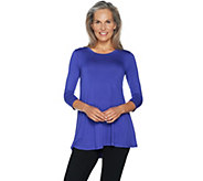 LOGO by Lori Goldstein 3/4 Sleeve Solid Swing Top with Pockets - A292802