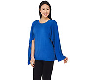 As Is H by Halston Sweater Knit Cape Top - A296002