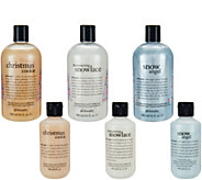 philosophy 6-piece holiday home and away shower gel set - A298602