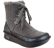 As Is Alegria Leather Lace-up Boots with Faux Fur- Twisp - A309902