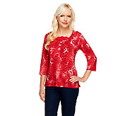 Susan Graver Liquid Knit Animal Print Top with Lace Inset - A81802