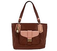 Nicole Richie Collection Leather Tote with Removable Clutch - A224303