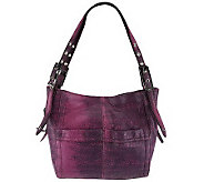 B. Makowsky Leather Snap Top Shopper with Adjustable Shoulder Straps - A229003