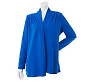 Susan Graver Weekend French Terry Cascade Front Cardigan w/Long Sleeves - A230503