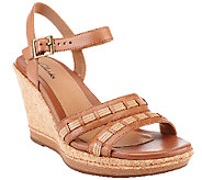Clarks Leather Wedges w/ Ankle Strap - Pitch Cocoa - A252703