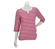 As Is Denim & Co. Active French Terry High-Low Hem Striped Top - A258703