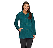 Dennis Basso Washable Suede Anorak with Zip Off Hood - A259803