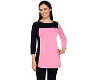 Susan Graver Liquid Knit Color Block 3/4 Sleeve Tunic - A263003