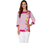 Bob Mackies 3/4 Sleeve Floral and Stripe Printed Knit Top - A263603